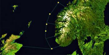 """""""LANGS KYSTEN: Man kan spre vindparker langs kysten og koble dem sammen i et undersjøisk kabelnett. (Illustrasjon: SINTEF Energiforskning)"""""""