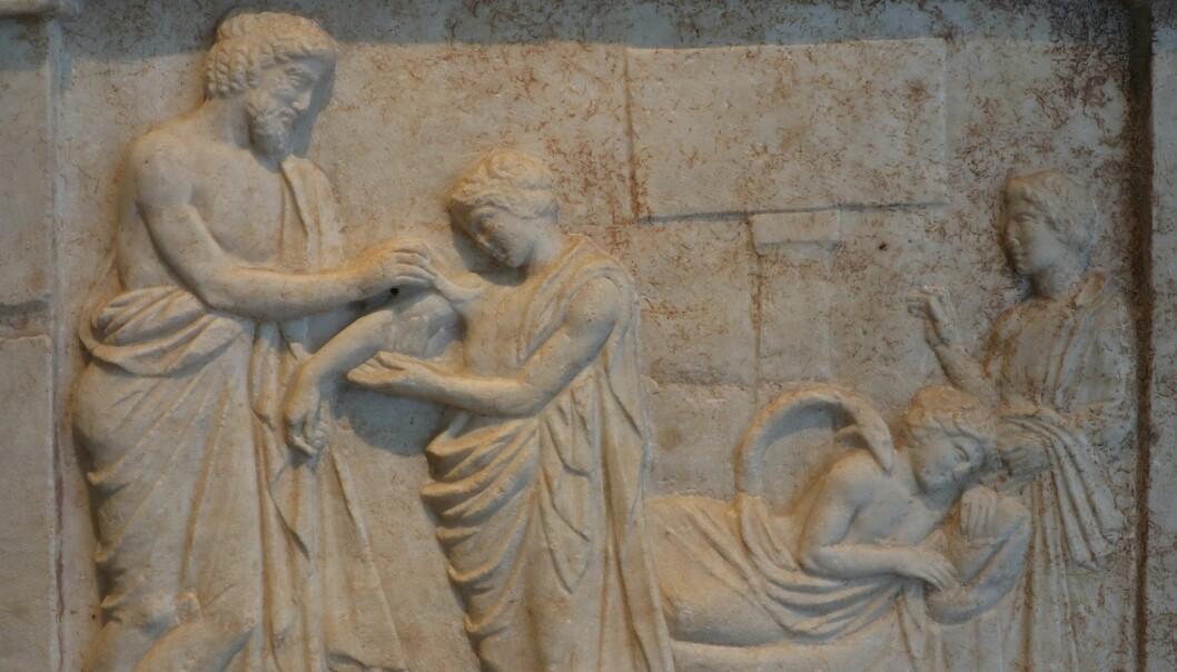 Drømmer i antikken var knyttet til sykdom og helse. Her leger kong Amphiaraos en pasient. Relieffet er datert 400–350 år fvt. og finnes i nasjonalmuseet for arkitektur i Aten.