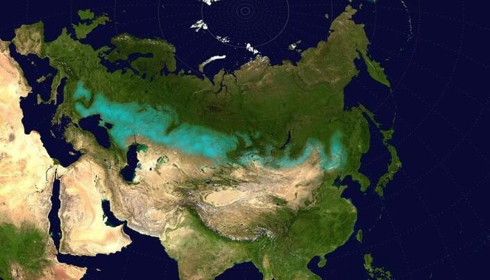 Det lyse området på kartet viser utstrekningen av gresslettene gjennom Asia og Europa. Den nye studien har sett på genene til folk som levde i den østlige delen over 6000 år.
