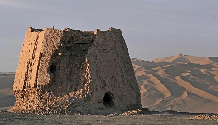 Et Han-kinesisk vakttårn, som kanskje stammer fra konflikten med Xiongnu-riket