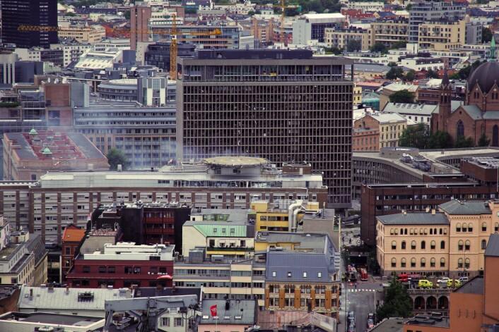 Oslo tre kvarter etter bombeeksplosjonen fredag. (Foto: Trond J. Strøm/Aftenposten)
