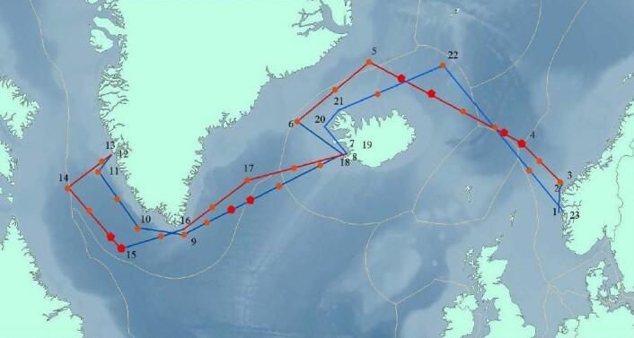«G.O. Sars» drar frem og tilbake over Atlanterhavet i mai og juni. (Foto: (Illustrasjon: Havforskningsinstituttet))