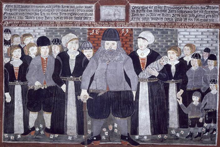 Epitafium, fra Gol kirke i Hallingdal i Buskerud, av storbonde Bjørn Frøysok og hans familie. (Foto: (Fotograf: Bjørg Disington. Copyright: Norsk folkemusemum))