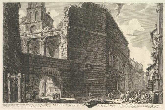 Ein 30 meter høg mur vart bygd for å verne Augustus' forum mot brann. Teikninga viser muren sett utanfrå, med restane av tempelet og forumet på innsida.
