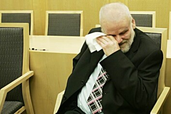 """""""Her blir en glad og rørt Fritz Moen formelt frikjent for drapet på Sigrid Heggheim, 27 år etter han ble pågrepet første gang. Foto: Heiko Junge / SCANPIX"""""""
