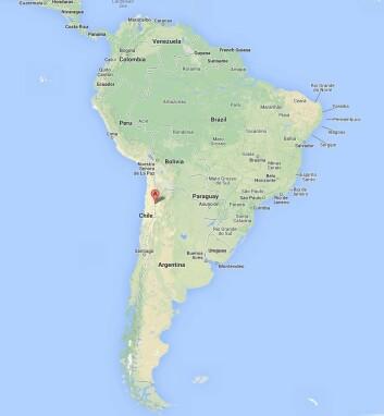 Vulkanen Llullaillaco ligger nært grensen til Chile. (Foto: (Kilde: Google maps))