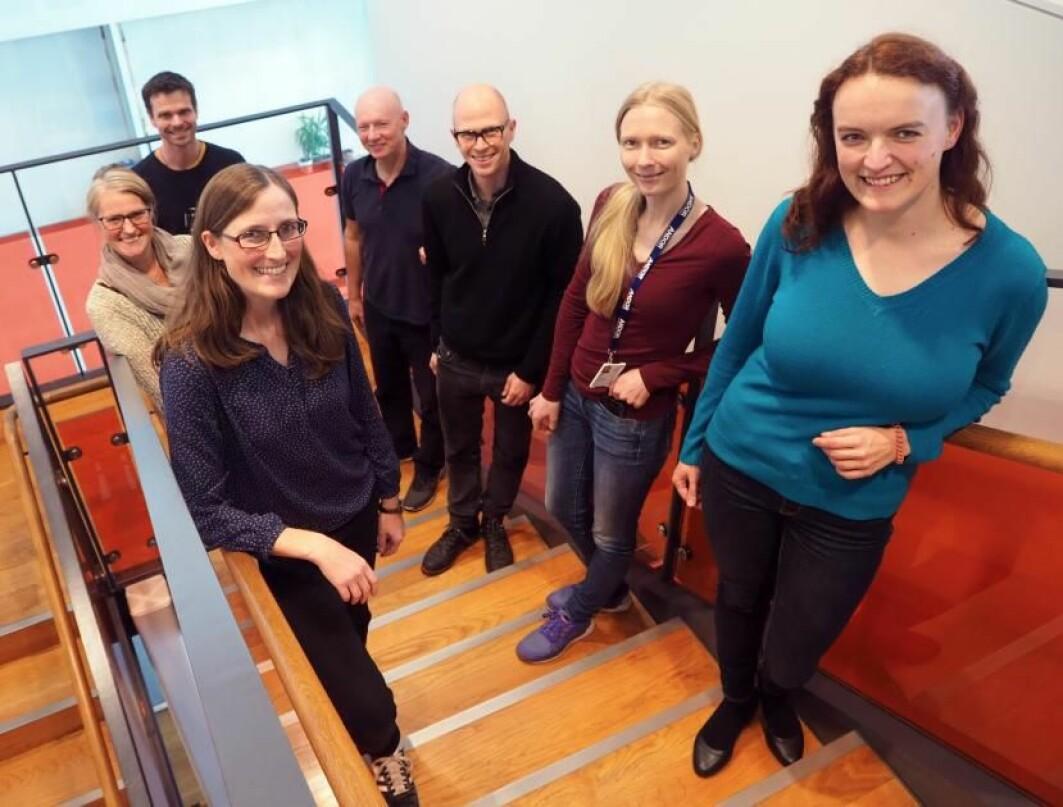 Med klokka f.v.: Eva Maria Wenzel, Camilla Raiborg, Sebastian W. Schultz, Harald Stenmark, Andreas Carlson, Ingrid Kjos, Susanne Liese.