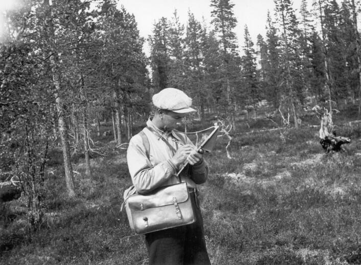 Feltarbeider i landsskogtaksering med skjema og veske under registrering. Kanskje tatt på 1940-tallet. (Foto: Emil Stang, Skog og landskap)