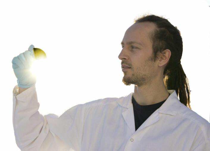 Kan bli nytt materiale for solceller: Trygve Mongstad fra Institutt for energiteknikk holder en brikke pådampet metallhydrid (Foto: Arnfinn Christensen)