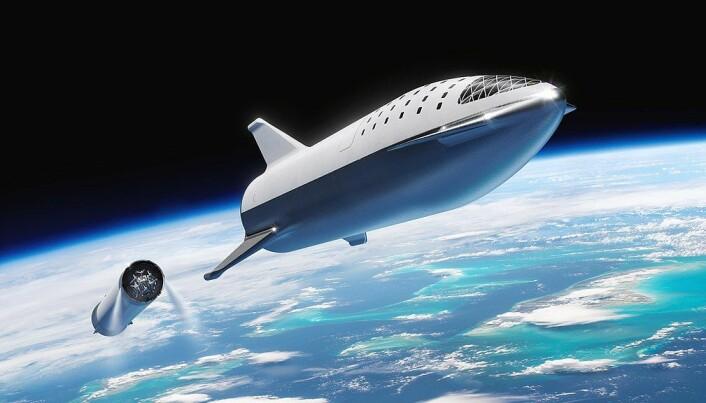 En framstilling av en tidligere Starship-variant, etter at første stadiet er koblet fra etter oppskytning.
