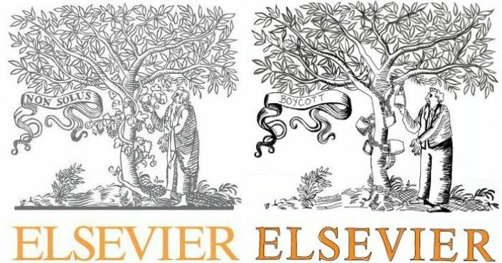 Til venstre Elseviers ekte logo, til høyre en kopi av logoen laget til boikotten. (Bilde: Elsevier/Giulia Forsythe/Flickr Creative Commons)