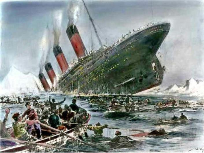 Titanic var et dampskip som ble bygget av White Star Line. I disse dager er det hundre årene siden det stevnet ut på sin jomfrureise. Det var 269 meter langt og 28 meter bredt. Det var verdens største skip da det sank natten mellom den 14. og 15. april. 1517 mennesker mistet livet. (Foto: (Maleri: Willy Stöver, 1931))