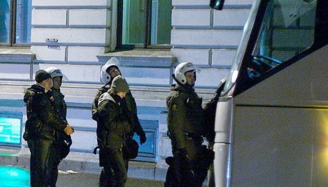 Arrestanter under de pro-palestinske opptøyene i Oslo 10. januar 2009. Egil Fujikawa Nes / Wikimedia Commons
