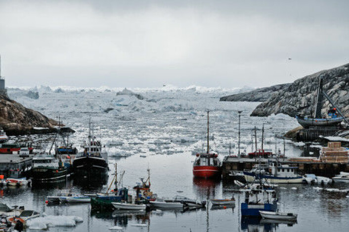 Grønlandsis frå Jakobshavn-isbreen. (Foto: Colourbox)