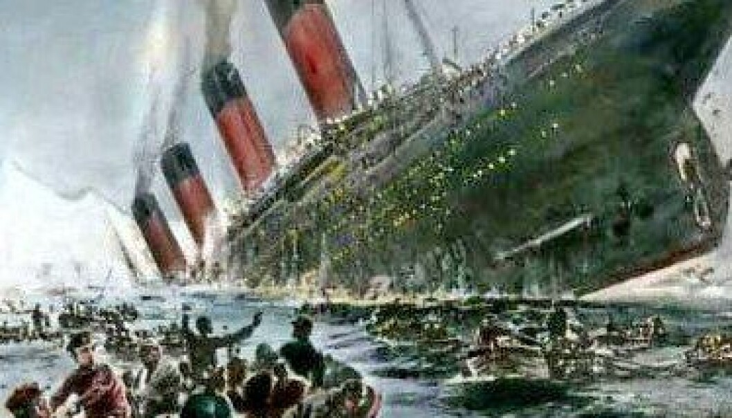 Titanic var et dampskip som ble bygget av White Star Line. I disse dager er det hundre årene siden det stevnet ut på sin jomfrureise. Det var 269 meter langt og 28 meter bredt. Det var verdens største skip da det sank natten mellom den 14. og 15. april. 1517 mennesker mistet livet. (Maleri: Willy Stöver, 1931)