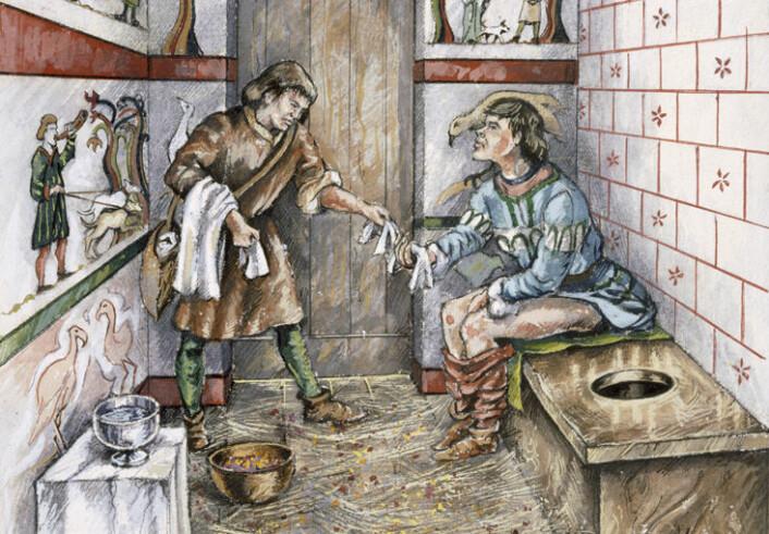 Rekonstruksjon av en latrine i Old Sarum, Wiltshire, fra rundt 1350. Tegningen er gjort av Peter Dunn fra English Heritage Graphics. (Foto: (Illustrasjon: Mary Evans Picture))