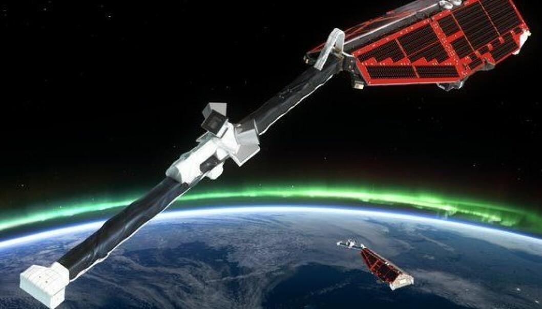 Dette er satellittene som måler jordens magnetfelt i forbindelse med operasjon Swarm. ESA