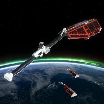 Dette er satellittene som måler jordens magnetfelt i forbindelse med operasjon Swarm. (Foto: ESA)