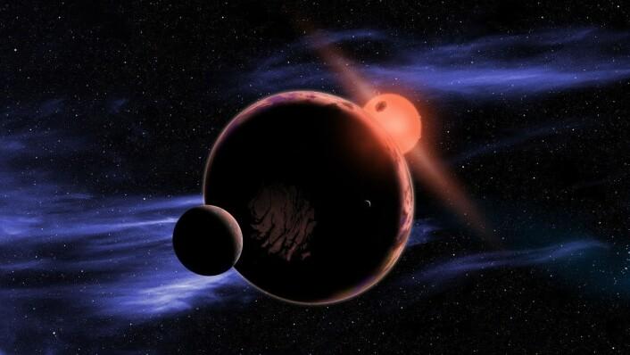 Slik illustrerer NASA en hypotetisk planet i bane rundt en rød dverg. Det er anslått at rundt seks prosent av røde dverger har en planet i den beboelige sonen (Foto: Illustrasjon: NASA/HO/AFP))