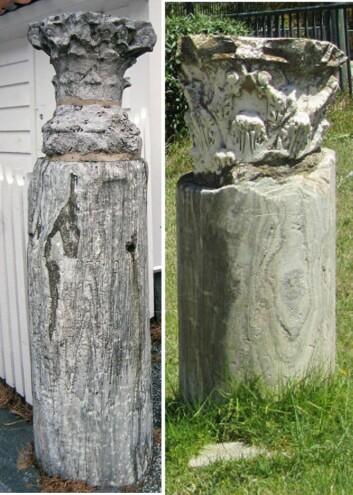 Tvillinger med altfor liten «hatt». En søyle av Marmor Carystium fra Gamle Bergen (til venstre) og en fra det Romerske teateret i Kartago. (Foto: NGU/romeartlover.tripod.com)
