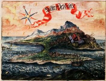 Tresnitt av Vardø fra om lag 1698 tegnet av amtmann H. H. Lilienskiold. Trollkvinnene ble forhørt og torturert på festningen som ligger litt opp til høyre på bildet.