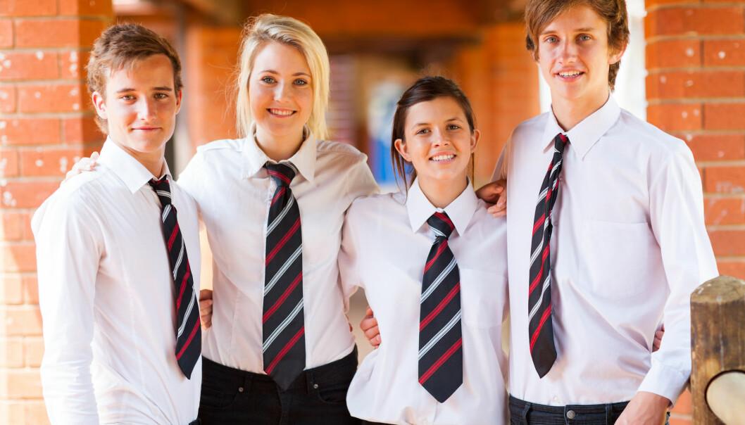 35 prosent av de spurte i en undersøkelse mente at skoleuniform kan bidra til mindre fokus på kropp og utseende.
