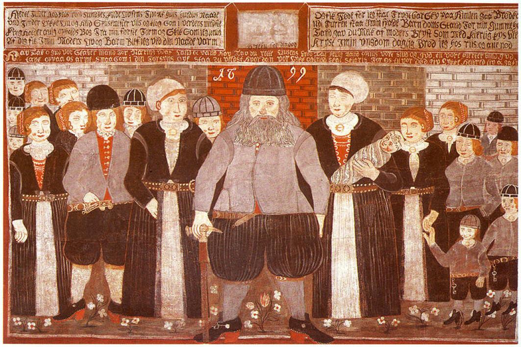 Epitafium, fra Gol kirke i Hallingdal i Buskerud, av Bjørn Frøysok og hans familie.