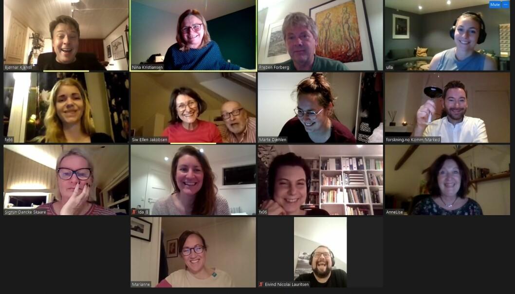 Prisutdelingen foregikk digital, og her er noen av forskning.nos ansatte på Zoom. Øvre rekke fra venstre: Bjørnar Kjensli, Nina Kristiansen, Preben Forberg, Ulla Gjeset Schjølberg, Elise Kjørstad, Siw Jakobsen, Bård Amundsen, Marte Dæhlen, Kåre Borgan, Sigrun Dancke Skaare, Ida Bergstrøm, Ingrid Spilde, Anne Lise Stranden, Marianne Nordahl og Eivind Nicolai Lauritsen.