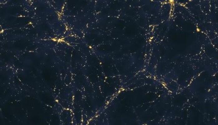 Flere er blitt slått av likheten mellom hjernen og universet. Dette bildet er en datamodell som viser et stort antall galakser, organisert i tråder og klynger. Spiller mørk materie en rolle?