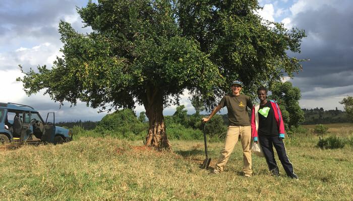 Her står forskerne Sara B. Weinstein (til venstre) og Katrina Nyawira foran et Acokanthera-tre, også kjent som giftpiltreet.