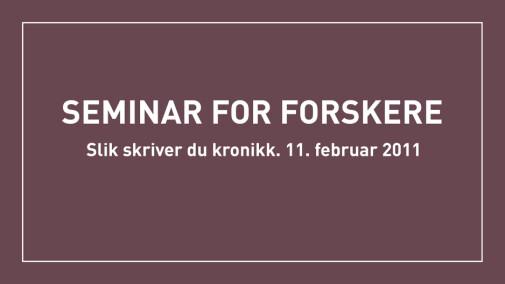 Seminar for forskere