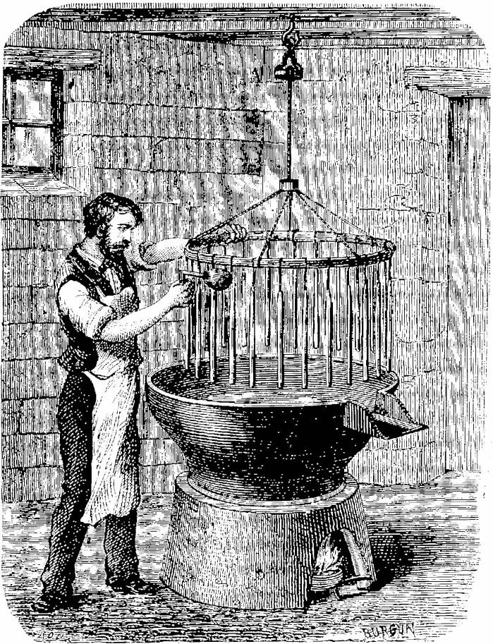 Lysstøping, kobberstikk ca. 1870.
