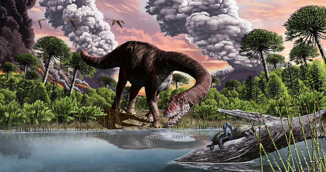 En tidlig langhals bruker sugerørhalsen sin til ta seg en slurk vann. Det kan ha vært vulkanutbruddene i bakgrunnen som gjorde at disse dinosaurene endte opp som verdens største.