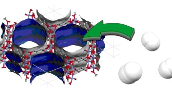 """""""Hydrogenlagring: Nye materialer av typen koordinasjonspolymerer har egenskaper som gjør at for eksempel hydrogen kan absorberes på den indre overflaten, og dermed brukes til hydrogenlagring. (Illustrasjon: Pacal Dietzel og Richard Blom, SINTEF)"""""""