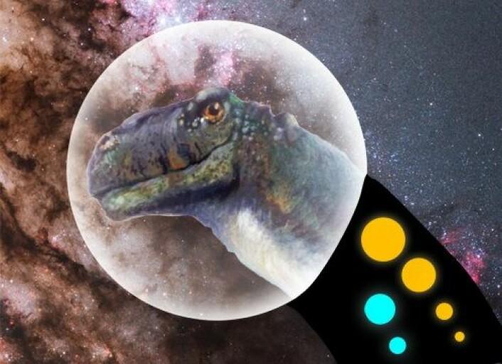 """""""Det er mulig at superintelligente dinosaurer lever på en planet et eller annet sted langt ute i verdensrommet. Det hevder i hvert fall en amerikansk kjemiker."""" (Foto: (Montasje: Wikimedia Commons))"""