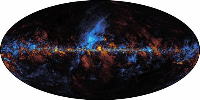 Kart over galaktisk støv i Melkeveien, produsert av Beyond Planck. Denne strålingen må fjernes med ekstrem nøyaktighet for å finne signalet fra The Big Bang.