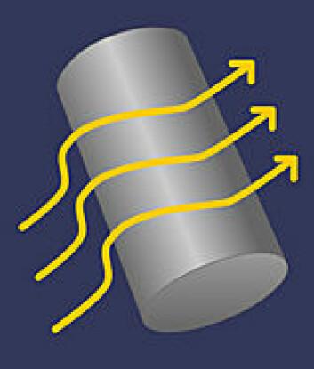 Denne sylinderen er dekket av et metamateriale som får lysstrålene til å bøye av og samles på andre siden, som om sylinderen ikke var der. (Ill: forskning.no etter Matti Lassas)