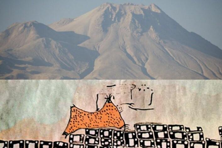 Dette er vulkanen Hasan, sentralt i Tyrkias Anatolia-region. Vulkanen er avbildet på et nær 9000 år veggmaleri i steinalderbosettingen Çatalhöyük. (Foto: Janet C. Harvey/flickr: open_knowledge)