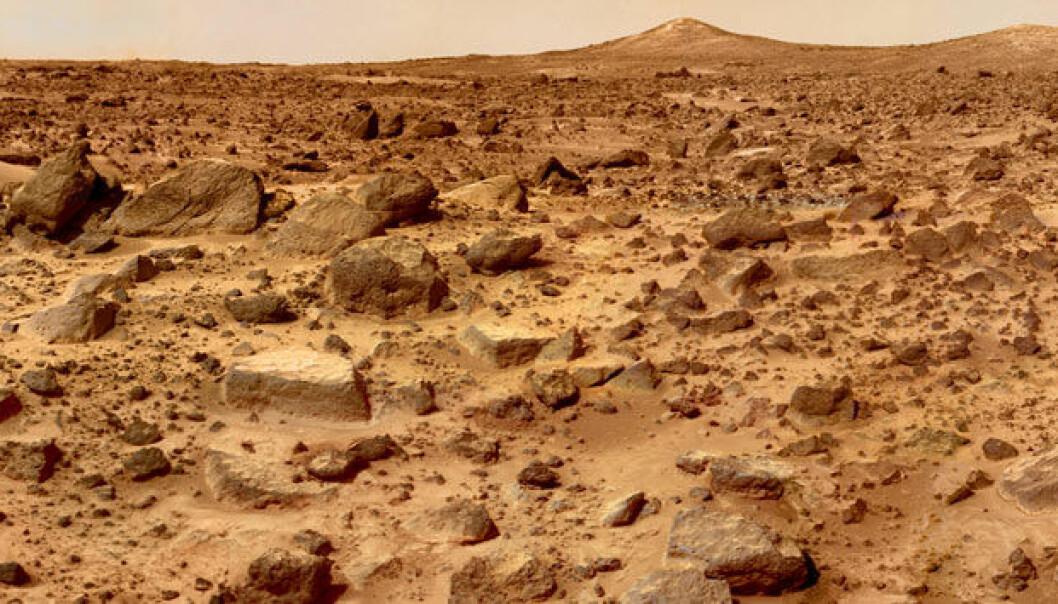 Bildet av overflaten på Mars er tatt med farkosten Mars Pathfinder. NASA