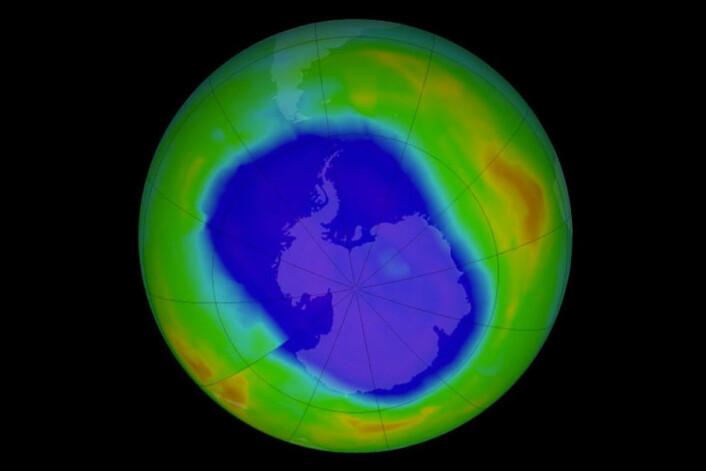 Sånn så ozonhullet over Antarktis ut i 2011. (Foto: NASA)