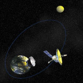Radioteleskopet RadioAstron (Spektr-R) virker sammen med radioteleskoper på jorda slik at oppløsningen tilsvarer et teleskop som er større enn avstanden fra jorda til månen. (Foto: (Figur: via NASA))