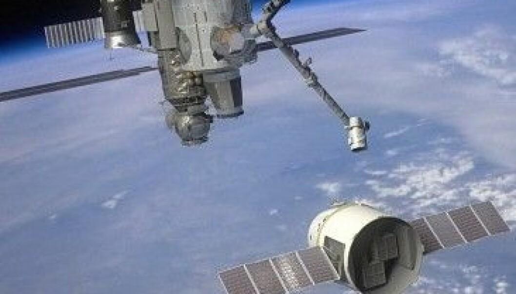 Når Dragon kommer nær nok til romstasjonen, vil den bli hentet inn med en stor robotarm. NASA/SpaceX
