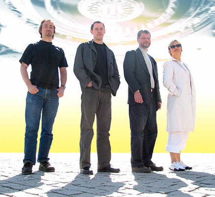 Noen av nøkkelpersonene i det norske miljøet for dataspillfilosofi.Fra venstre: John Richard Sageng, Hallvard Fossheim, Olav Asheim (prosjektleder) og Anita Leirfall. Femtemann i gruppen, Tarjei Mandt Larsen, var ikke tilstede da bildet ble tatt og intervjuet ble gjort. (Fotomontasje: Arnfinn Christensen, forskning.no)