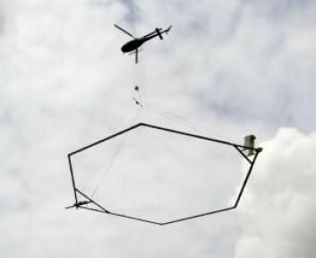 Ved SkyTEM-teknologien henger en stor ring under et helikopter og fungerer som en spole med et kraftig elektromagnetisk felt. Det utnytter forskerne til å skape strøm i undergrunnen, og alt etter hvor raskt strømmen svekkes, kan forskerne analysere seg frem til hvordan undergrunnen er oppbygget. (Foto: Aarhus Universitet)
