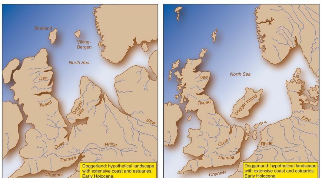 Slik kan Doggerland ha sett ut for rundt 10 000 år siden, til høyre i bilde. Etterhvert har havet steget, og deler av landområdet har blitt øyer. Nå er alt sunket i havet,