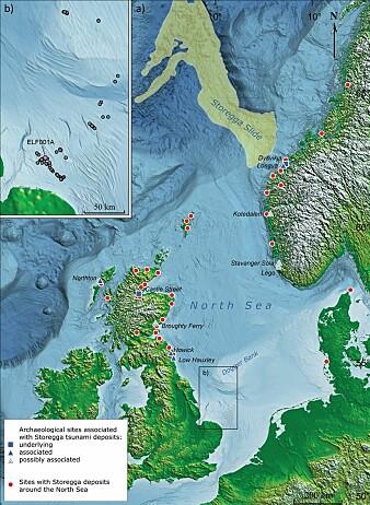 Det gule området på kartet viser hvor det digre Storegga-raset gikk. Raset utløste en tsunami for over 8000 år siden.