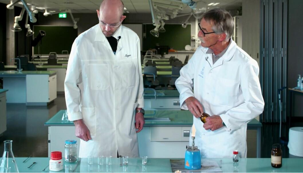 Inge og Magne bruker metallstøv og salter til å lage stjerneskudd!