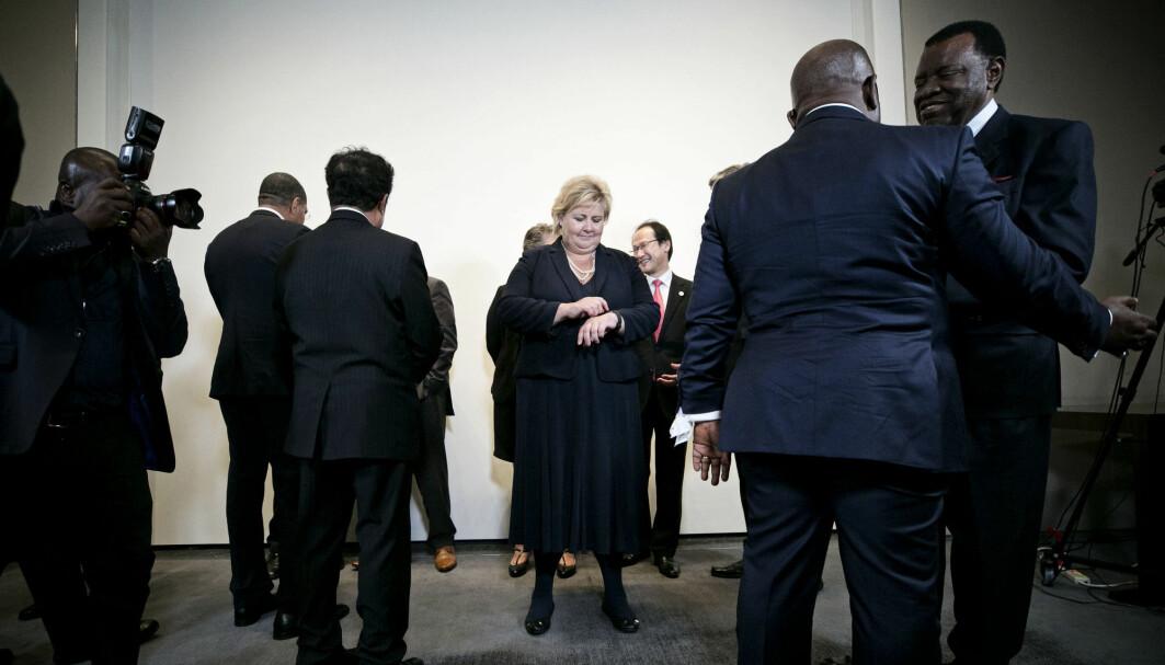 Havpanelet ble lansert i 2018 med Norges statsminister Erna Solberg som en av de to lederne. Her er hun avbildet med flere av de andre statslederne i panelet.