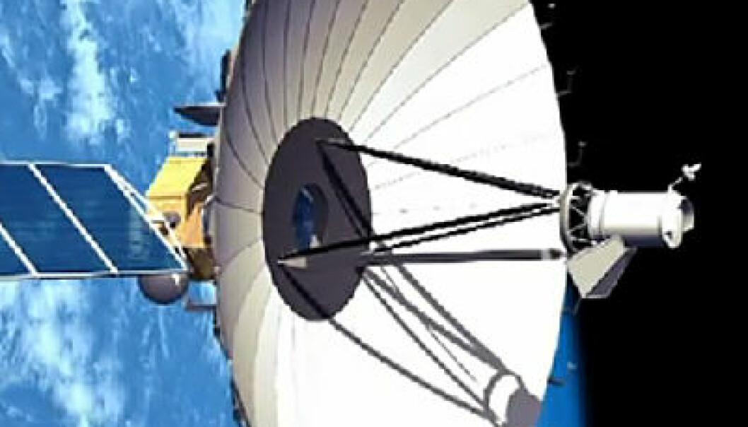 Radioteleskopet RadioAstron i bane rundt jorda. Banen er sterkt avlang, og går i en avstand mellom ca. 10 000 kilometer og nærmere 400 000 kilometer fra jorda. (Figur: NPO Lavochin, fra YouTube-video)
