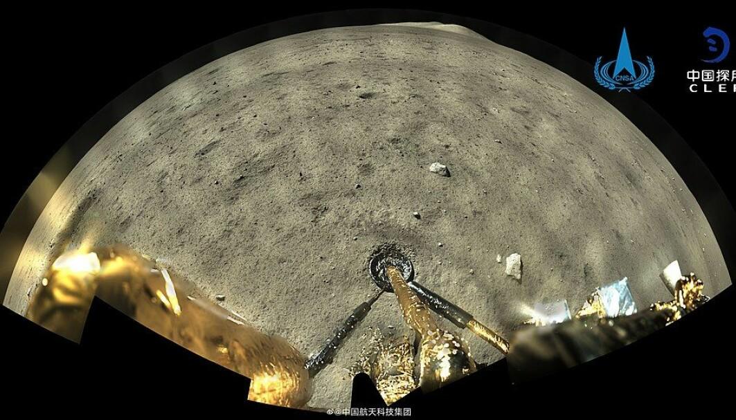 Slik ser månen ut for Chang'e 5-landeren. Originalbildet er digert, og har en oppløsning på 15 000x7947 piksler.
